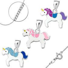 Anhänger Kette Kinder Mädchen Halskette 925 Echt Silber Sterling Pferd Einhorn