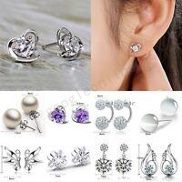 Fashion Women 925 Sterling Silver Crystal Rhinestone Pearl Ear Earrings Jewelry