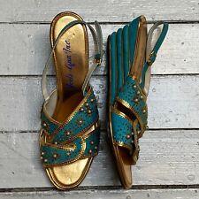 Vtg 1950s Jodi-Ann Inc Turquoise Gold Lame Beaded Slingback Wedge Heel Sandals 8