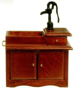 Melody Jane Dolls House Walnut Victorian Sink Unit w Hand Pump Miniature
