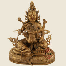"12"" Tibet Tibetan Buddhism copper gilt hand made RED Jambhala statue"