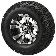 4 Golf Cart 23x10.50-12 Black Trail Tires 12x7 Black/Machined Vampire Wheels