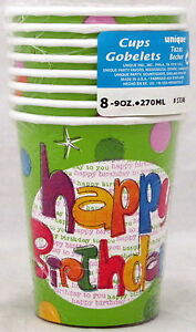 Happy Birthday Glee Paper Cups 8 Ct 9 Oz Paper Party Decorations Cup Multicolor