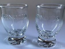 "Set of 2 Hpnotiq Glass Elegant Design Collectible Footed shot rock glass 4"" TALL"