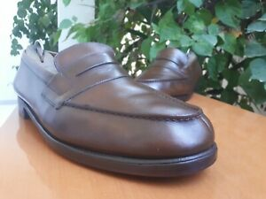 """J.M. WESTON Men's """"180 Penny Loafer"""" Brown Leather Loafers Size US 9 UK 8"""