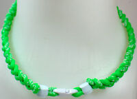 """NEW! 20"""" Custom Clasp Braided Sports Neon Green Lime Hot White Tornado Necklace"""