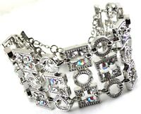 SILVER STATEMENT BANGLE BRACELET BY FRANKIE B ENCRUSTED WITH IRIDESCENT CRYSTALS