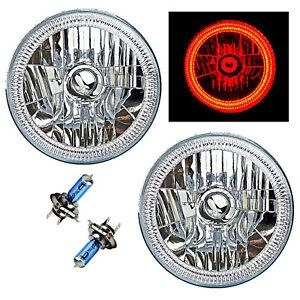 "7"" SMD Red LED Halo 55/60W Halogen Light Headlight Pair Fits 76-15 Jeep Wrangler"