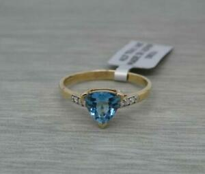 Beautiful 9ct Yellow Gold Natural Topaz & White Sapphire Ring, UK Size U
