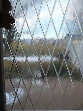 Unique Glass Window Pane Clear Raised Ribbed X Design Opaque Texture Church Art