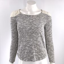 No Boundaries Sweater Size Small Gray Marled Lace Shoulder Top Womens