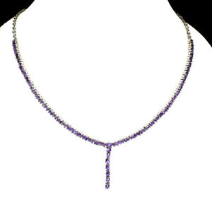 Unheated Oval Amethyst 4x3mm 14K White Gold Plate 925 Sterling Silver Necklace