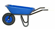 Profi-Schubkarre 85 Liter - blau lackierte Stahlmulde - Luftrad 4PR