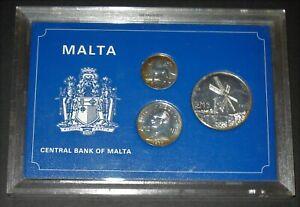 MALTA 1977 SILVER PROOF 3 COIN SET