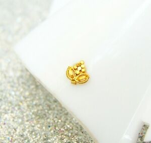 Indian Ethnic Stud Nose Ring 22k Gold Plated Crock Screw Nose Pin Mother's Gift