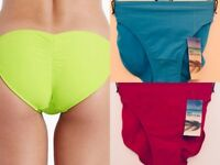 NEW LADIES M&S SIZE 12 14  BLUE / PINK RIO HIPSTER BIKINI BOTTOM BRIEFS PANTS