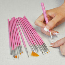 15 PC NAIL ART GEL PAINTING DRAWING DOTTING PEN POLISH TIPS BRUSH SET PINK KIT