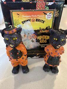 Christopher Radko SHINY BRITE Halloween Pumpkin Kids Ornament Set