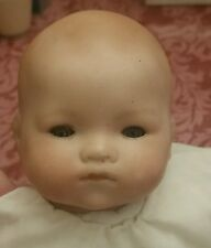 """Armand Marseille """"Baby Phyllis"""" Blue Eyes Bisque Sleeping Doll White Dress Lace"""