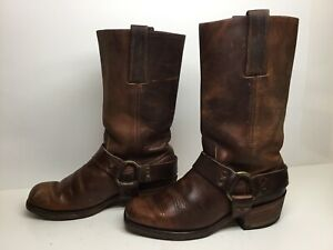 *1 WOMENS FRYE SQUARE TOE MOTORCYCLE HARNESS BROWN BOOTS SIZE 7.5 M