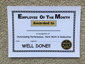 'Employee of the Month' Certificates x 50 - A5 Quality Card - Laser Printed