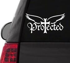 H161 PROTECTED WINGS CHRISTIAN BIBLE WHITE DECAL CAR TRUCK  LAPTOP SURFACE ART