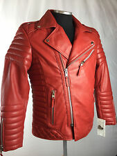 MENS GENUINE LAMBSKIN LEATHER BIKER JACKET MOTORCYCLE STYLE RED (ALL SIZES) NWT
