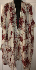 NWT Women's Angie Ivory&Cranberry Kimono/Swimsuit Cover Up~one Size