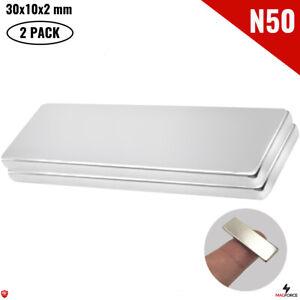 2Pcs Super Strong N50 30x10x2mm Neodymium Magnet Iman DIY Rectangular/Bar