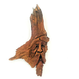 Vintage Hand Carved Signed Wood Spirit Old Man Face Tree Driftwood Sculpture '81
