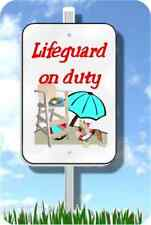 """Chinese Crested lifeguard on duty sign metal novelty 8""""x12"""" pool yard dog"""