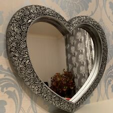 Silver Ornate Heart Wall Mirror Antique Resin Style Heart Shape Mirror 67x58 Cm