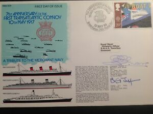 RNSC Cover - 1st Transatlantic Convoy, Signed Marr, WW2 Convoys & RMS Queen Mary