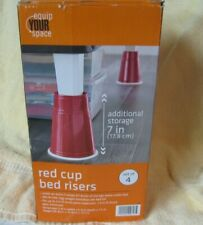 """Equip Your Space - Red Cup Bed Risers 7"""" Solo Inspired Set of 4 New in Box"""