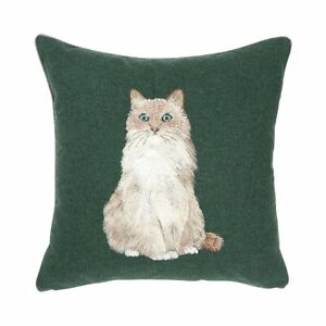 Iosis Yves Delorme Long Hair Cat Embroidery Decorative Throw Pillow Cover Wool