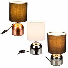 Retro Metall Tischlampe Schirmlampe Kupfer Chrom Silber 26cm Nachttischlampe