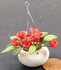 1:12 Scale Red Roses In A Ceramic Hanging Basket Tumdee Dolls House Garden 1631