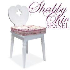 Sessel weiß Shabby Chic mit Kleeblatt Ausnehmung Holz Bauernsessel Landhausmöbel
