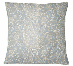 S4Sassy Decorative Gray Cushion Cover Paisley Print Throw Square-vhw