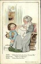 Grace Drayton Girl & Grandmother Needlepoint Doll Had Accident c1910 Postcard