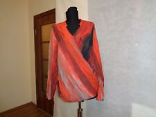 CRISCA MULTICOLOURED TIE-DYE STRIPED WRAP CROSS OVER RELAXED CRINKLED TOP-14UK
