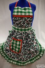 RETRO VINTAGE 50s STYLE FULL APRON / PINNY - CHRISTMAS HOLLY with GREEN TRIM