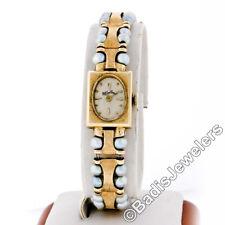 Vintage Lucien Piccard Mechanical Watch w/ 14k Gold & Dual Strand Pearl Bracelet