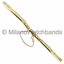 Baldwin C-Ring Ladies Mesh Gold Tone Ladies Clasp w. Safety Clasp Watch Band