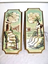 Pair Mid Century Hand Painted Wooden Wall Art Plaques Paintings Italian Vintage