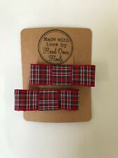 Tartan Red Check Small Bow Hair Clip  Christmas Present Gift Burns Night