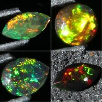 Awesome Quality ! Natural Ethiopian Welo Fire Black Opal Faceted Stone Gemstone
