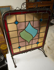 Victorian Stained Glass Fireplace Screen (Hse) Blew Jewles Brass Hardware