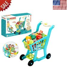 Children Shopping Cart With Groceries Pretend Play Set Kids & Toddler Fun Toy US