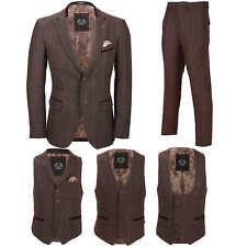 Mens 3 Piece Tweed Wine Brown Check Suit Blazer Waistcoat Trouser Sold Separate
